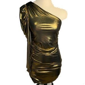 EUC MEDIUM Gold mini dress with puffer sleeve